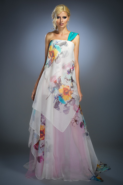 shaped white print silk organza gown
