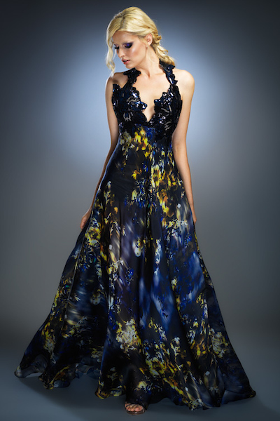 Silk Organza Gown Multi-Print with Sequined Detail — Globa Moda