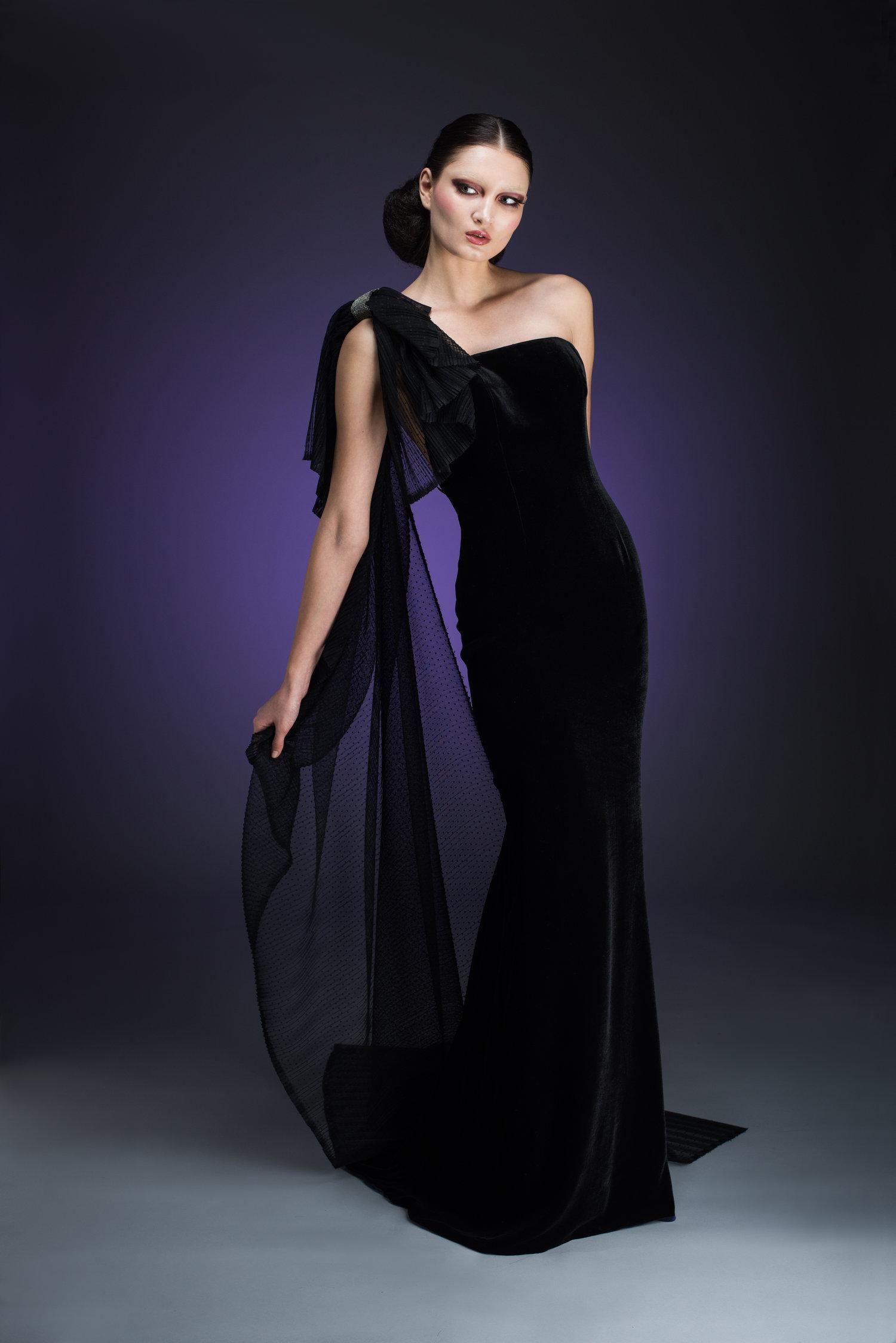 One Shoulder Velvet Gown with Flowing Black Plisse Detail — Globa Moda