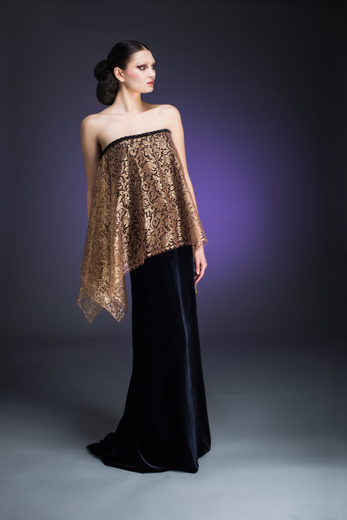 Indigo Velvet and Gold Lace Combination Strapless Gown — Globa Moda