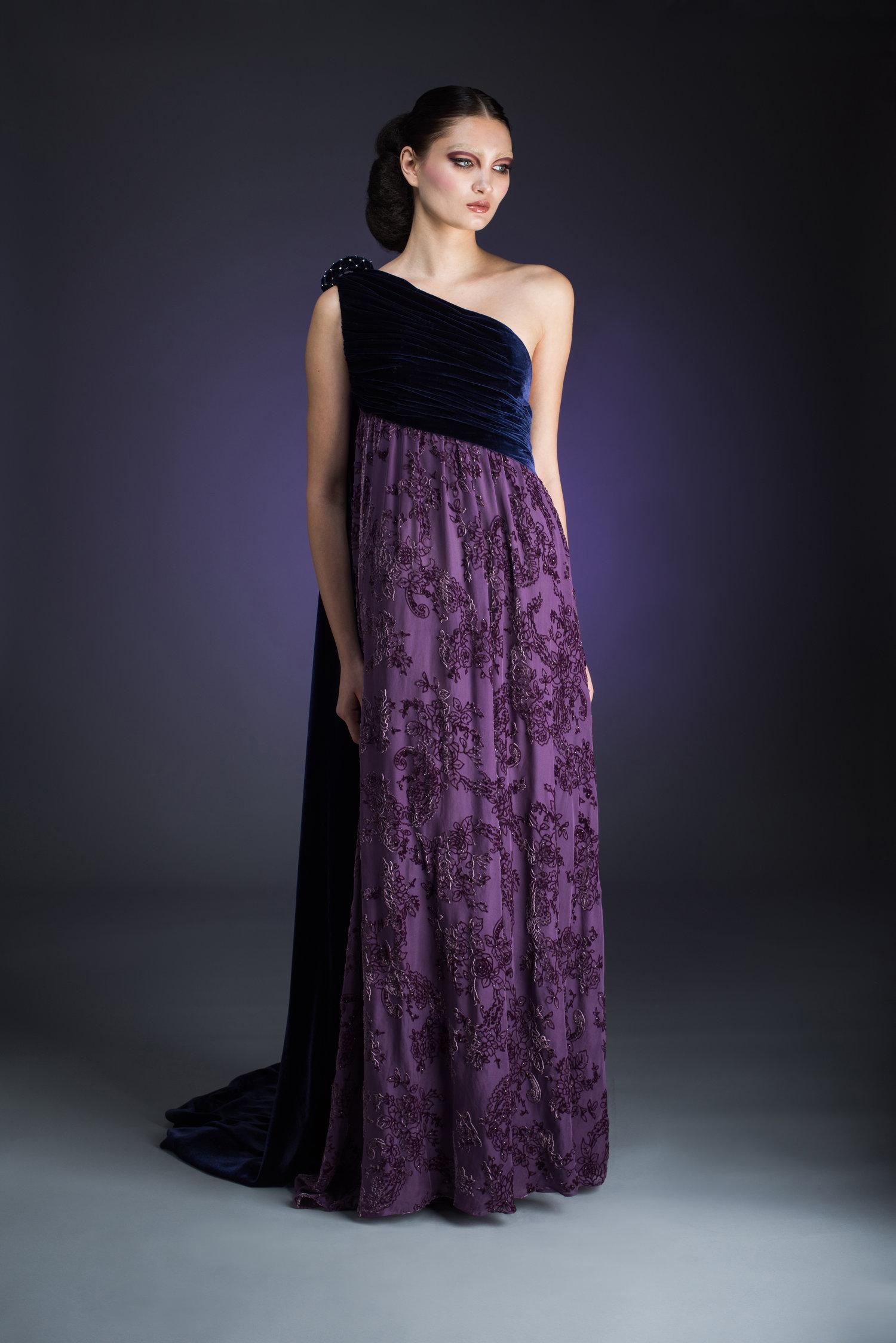 Plum One Shoulder Silk Velvet Evening Gown — Globa Moda