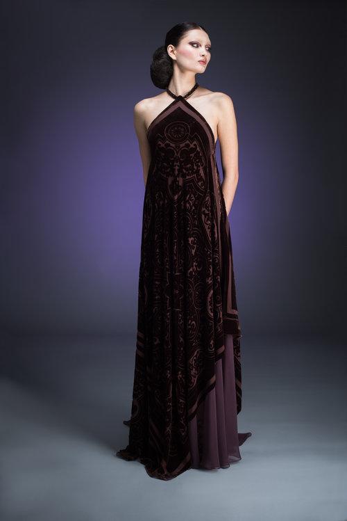 Bronze Velvet Gown with Tassels Flowing in Back — Globa Moda