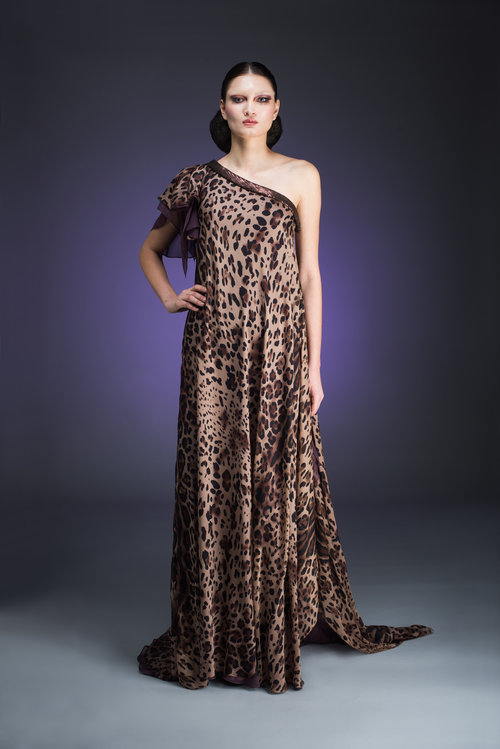 One Shoulder Animal Print Flowing Gown — Globa Moda