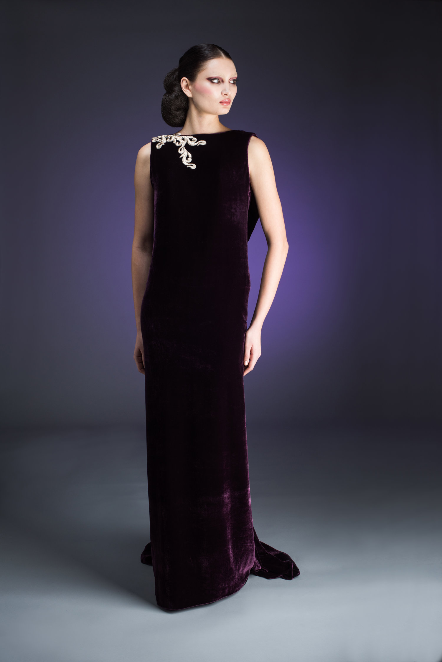 Plum Velvet Evening Gown with Deep Décolletage Back Detail — Globa Moda