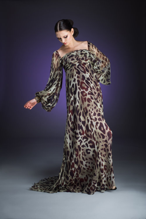 Animal Print Silk Chiffon Evening Gown with Draped Detail and Long ...