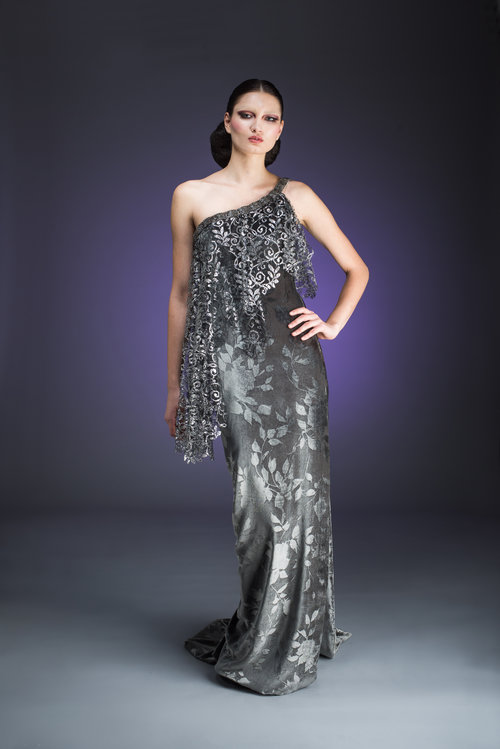 Silver Grey Velvet Gown with Silver Lace Detail — Globa Moda