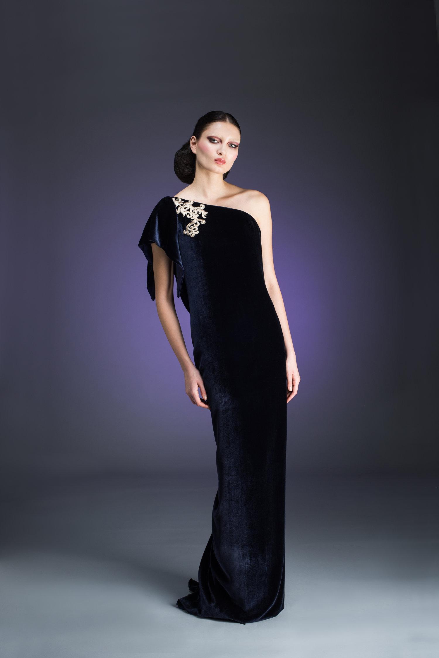 One Shoulder Indigo Silk Velvet Evening Gown — Globa Moda