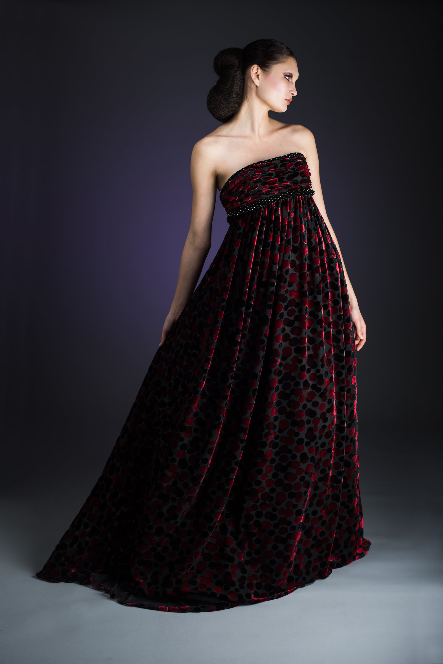 Deep Red Over Black Tulle Strapless High Waisted Evening Gown ...