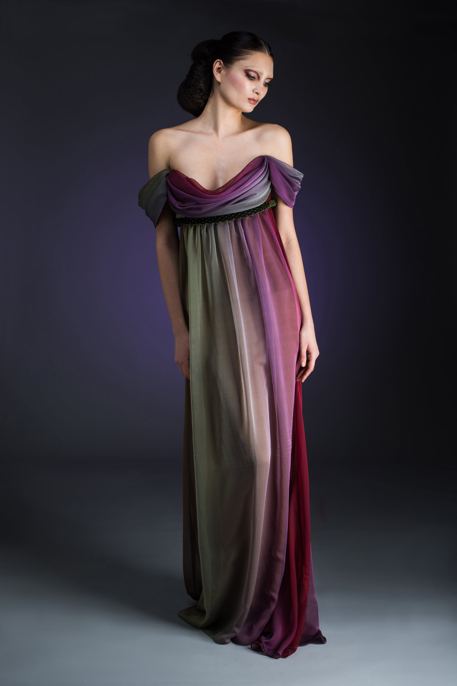 Silk Chiffon Ombre Empire Style Evening Gown — Globa Moda