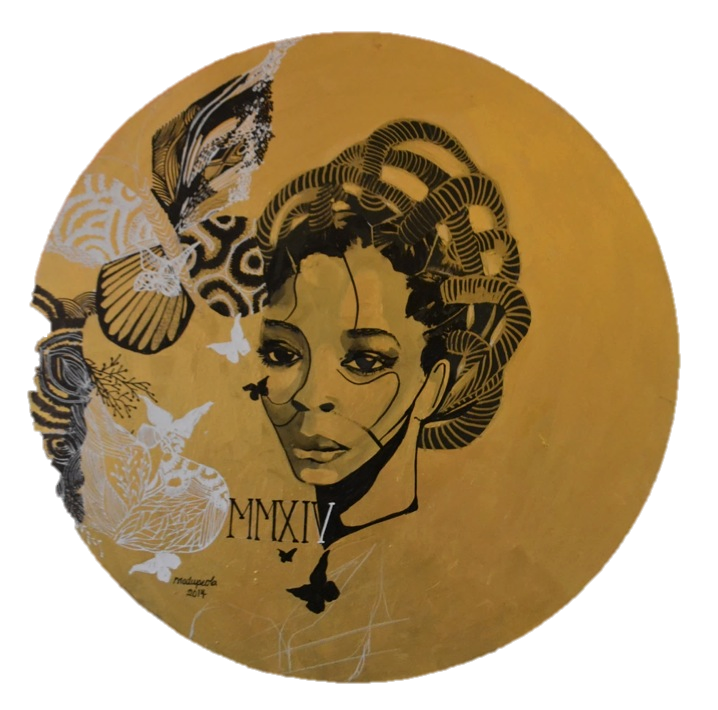 "Tempus Fugit , Acrylic on Canvas, 31"" (diameter), 2014"