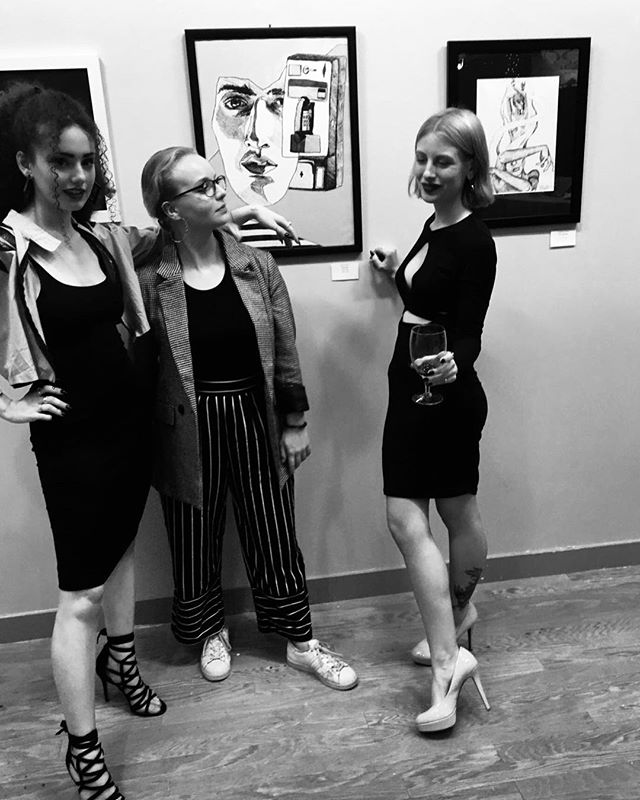 A beautifully strange image of us beautifully strange women. Synesthesia show last night at @thehivenj was incredible. Thank you to @angie.ink and @rylee.sky for being such amazing artists and friends. One of many more to come. 🐍 🐍 🐍 A special shout out to @no_tuesday, @moriahgrodriguez, @adrianavanmanen and @char_m_williams for coming out and for your endless support and love. I wouldn't be me without you! . . . . . . . . . . #art #artist #synesthesia #synesthesiaart #illustration #illustrator #njart #njgallery #galleryshow #thehive #annadwilliams #femalecollective #artcollective #create #print #paint #painting