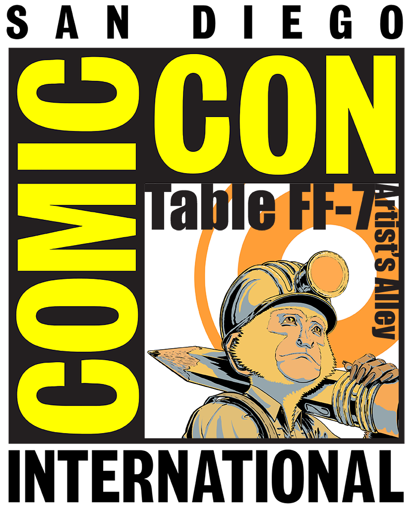 I'm going, you going? If you're joining the fun in San Diego this month, please stop by the monkeygong booth, artist's alley table FF-7, and say hello. I'll be offering all kinds of new comics, prints, a pre-sale vinyl, and more!  Hope to see you there!!