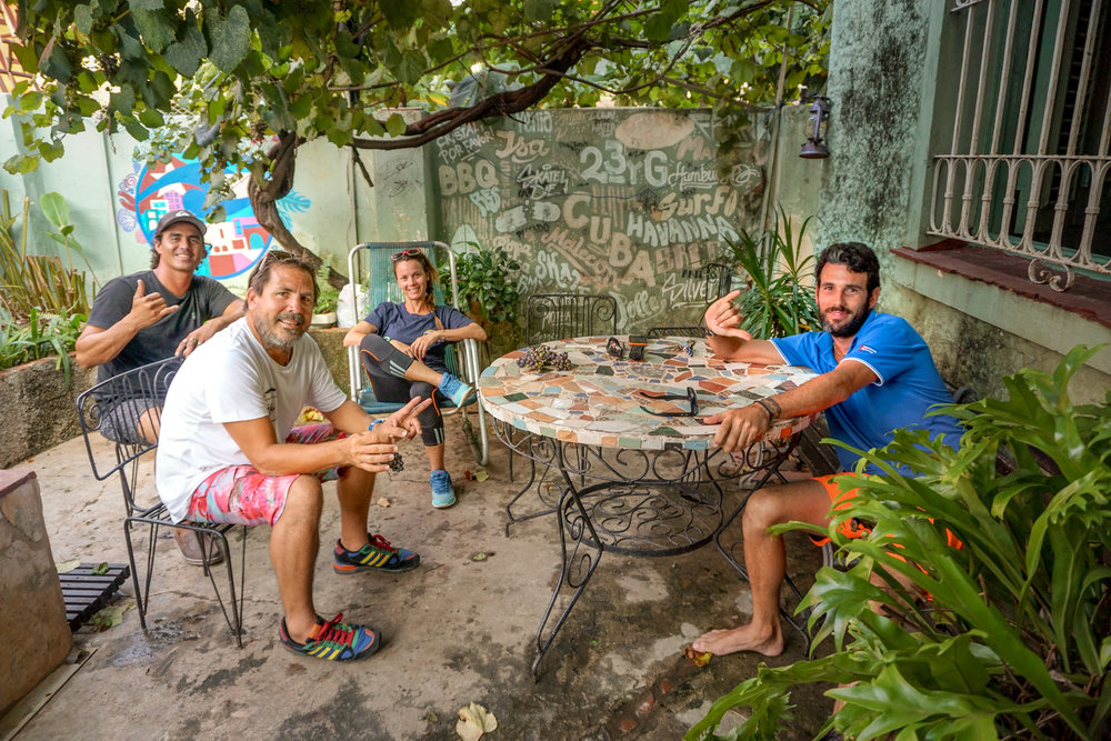 Behind Pay sit Danito and Yaya, two of the main reasons The Wahine Project Cuba has taken shape.  Frank, on the right, has been surfing Cuba's coasts longer than anyone.  He is a true waterman, an excellent host, and now proud papa to a 6-month old named, Paola (the same name as me!).