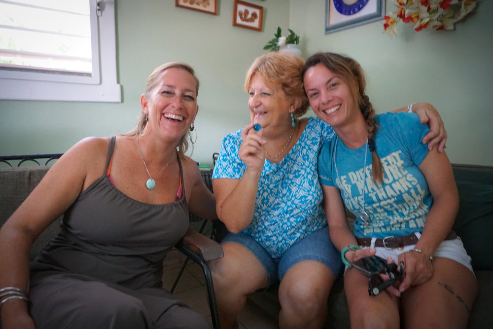 "Environmental activist, marine biologist, and Wahine Project Cuba supporter, Anglea Corvea (middle), is full of life, hope, and positive energy.  She created ""Acualina"" to inspire Cuba's youth to become ocean stewards.  Angela and I ""adopted"" each other this trip which means the Blue Mind circle just expanded ten-fold!"