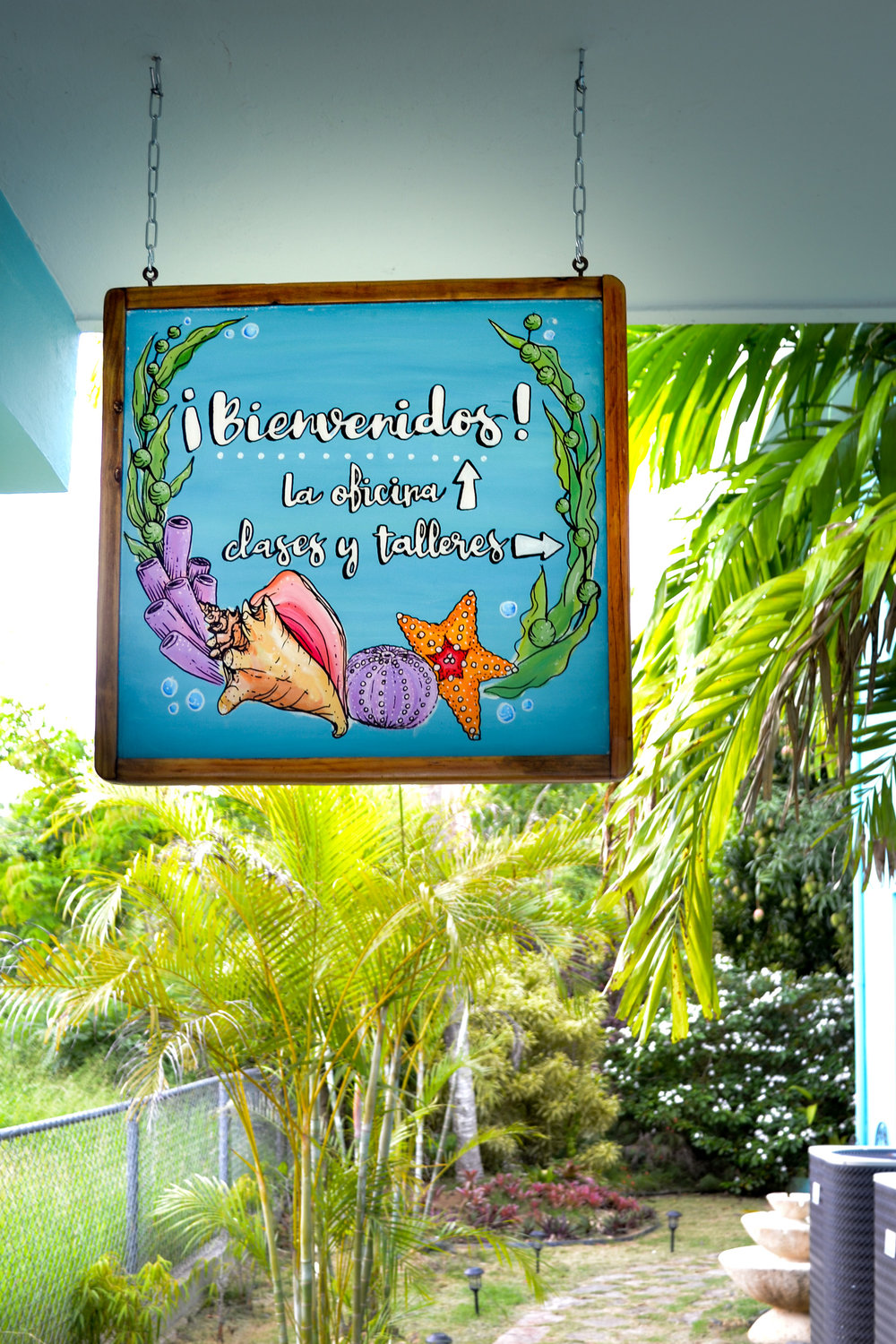 The welcome sign to Isla Mar Research Expeditions' Rincon, Puerto Rico office and workshop space.