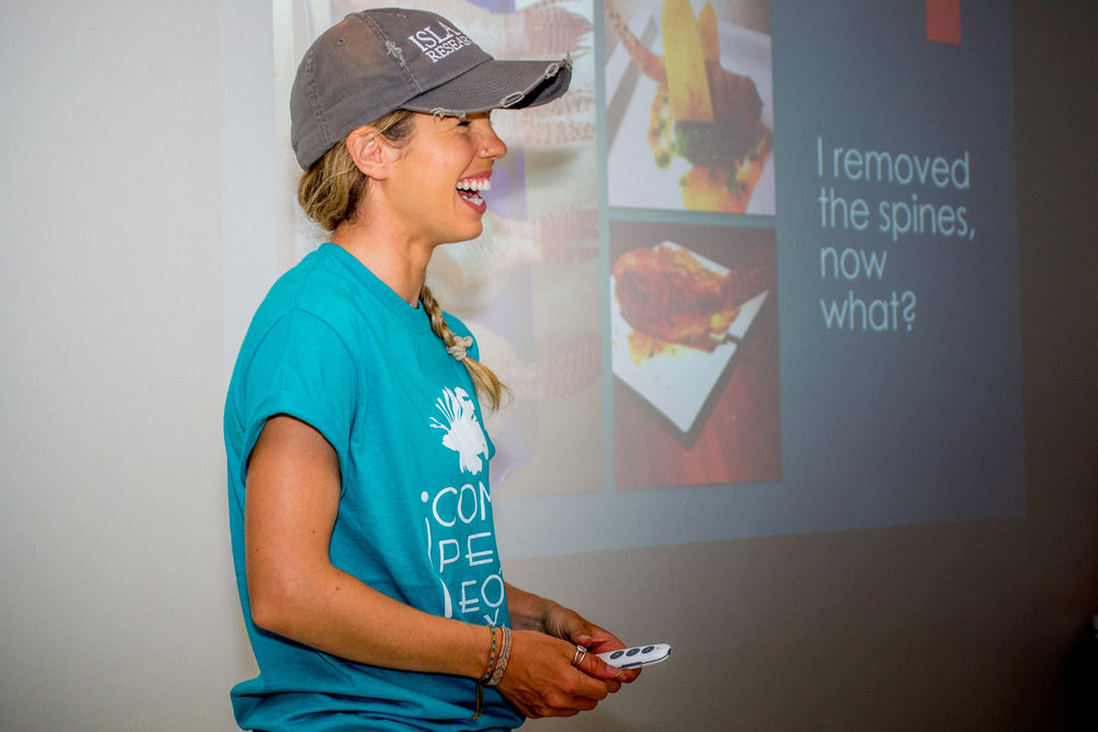 Dr. Chelsea Tuohy in her element teaching a lionfish workshop.