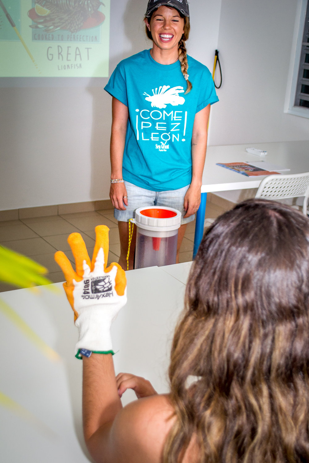 """""""Eat Lionfish"""" - a joint initiative between Isla Mar and Sea Grant Puerto Rico to educate locals on lionfish and their handling."""