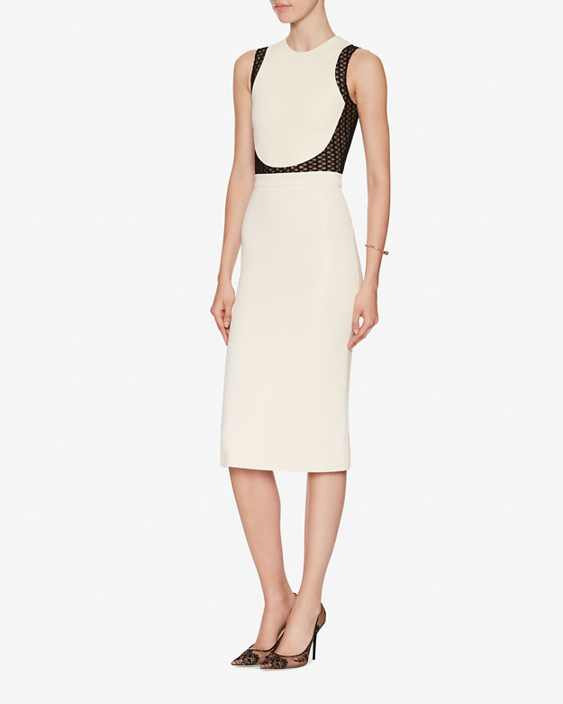 DAVID KOMA Macrame Panel Pencil Dress $1895