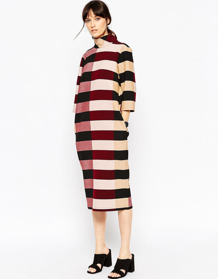 ASOS WHITE Funnel Neck Midi Dress in Block Stripe $163.00