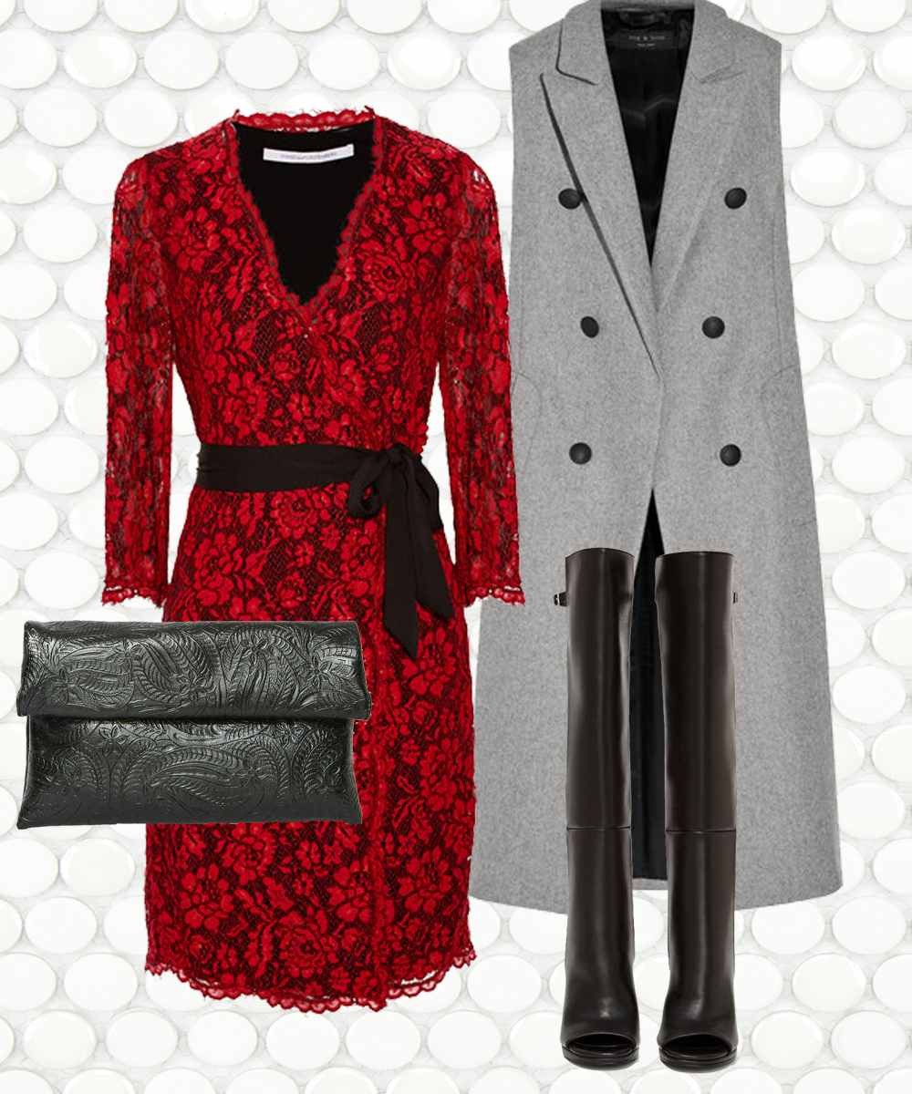 DIANE VON FURSTENBERG Julianna Lace Wrap Dress $550