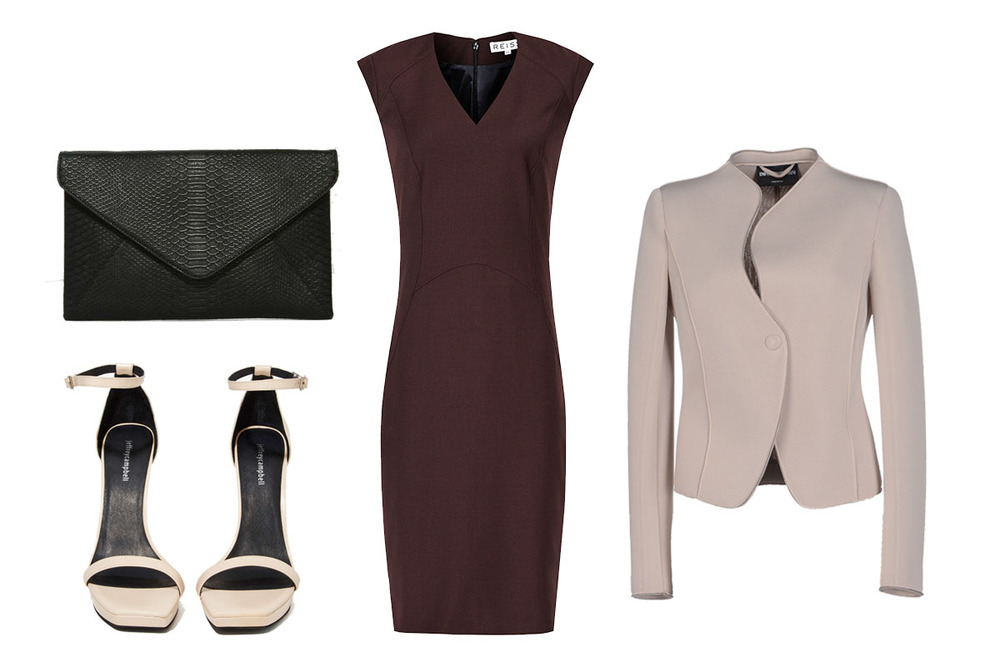 Kendra's Power Outfit: REISS Dress $370, EMPORIO ARMANI Blazer $282, NASTY GAL Bag $48, JEFFREY CAMBELL Heels $162
