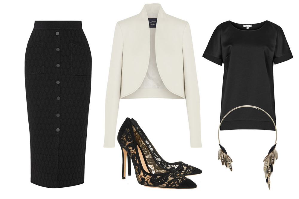 Ennie's Power Outfit: REISS Top $145, GIANVITO ROSSI Pumps $845, LANVIN Jacket $2445, JONATHAN SIMKHAI Skirt $360