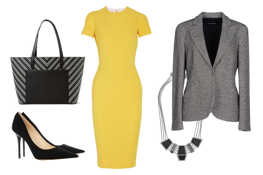 SEPIDEH'S PROFESSIONAL POWER OUTFIT:   VICTORIA BECKHAM DRESS $2365 ,  MICHAEL MICHAEL KORS Tote $200 ,  JIMMY CHOO Heels $595
