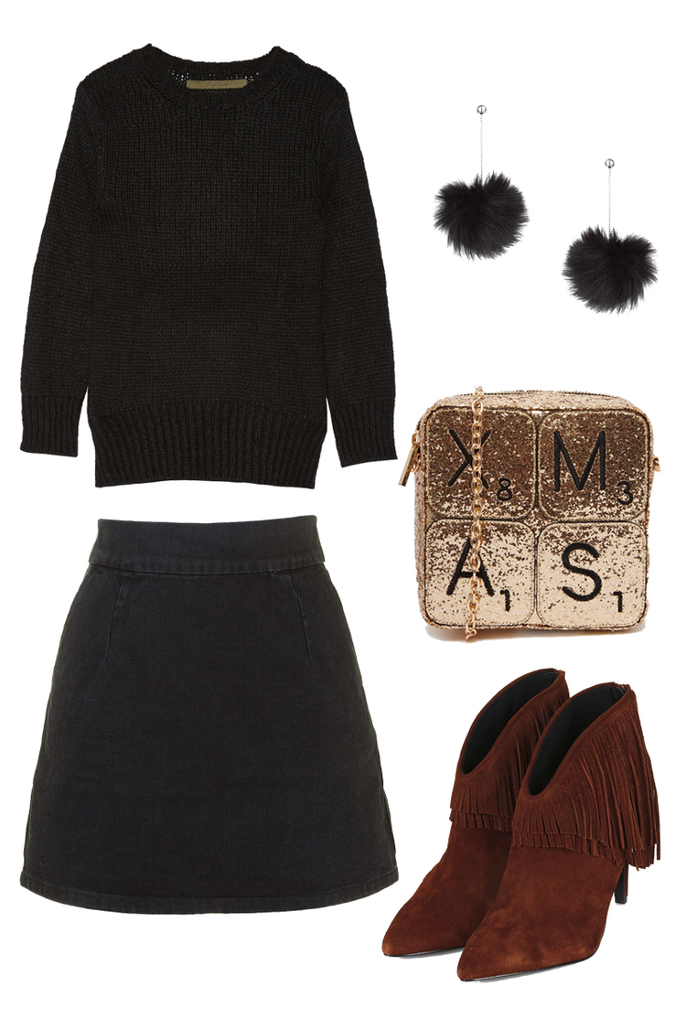ENZA CASTA Sweater $159, TOPSHOP Skirt $50, SKINNYDIP Bag $54, TOPSHOP Earrings $15, TOPSHOP Heel Boots $140