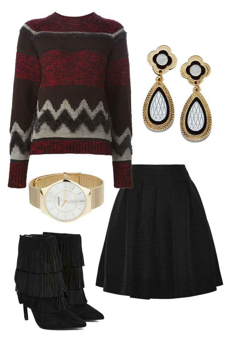 KOLOR Sweater $407, OSCAR DE LA RENTA skirt $1690, NASTY GAL Boots $110, TOPSHOP Watch $55, NASTY GAL Earrings $65