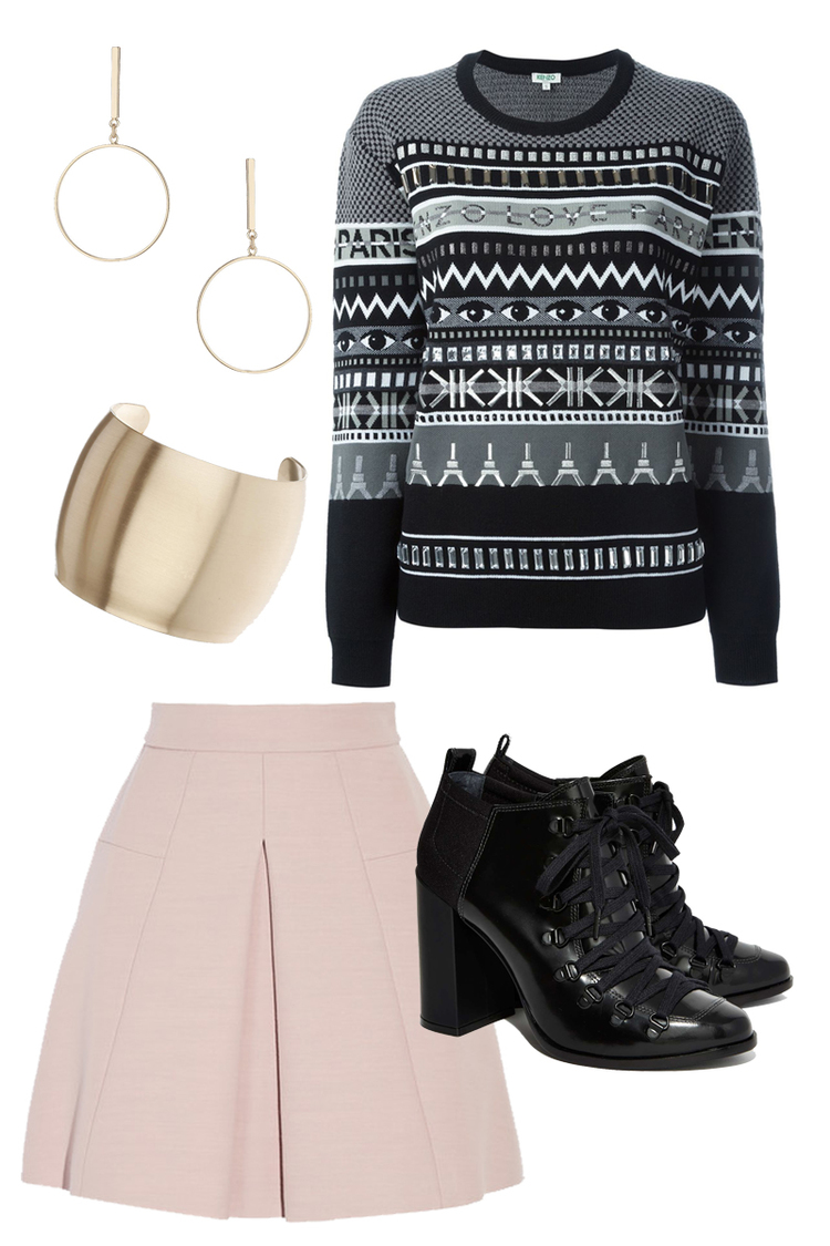 KENZO Sweater $652, NASTY GAL Bootie $375, TOPSHOP Bracelet $15, TOPSHOP Earrings $15