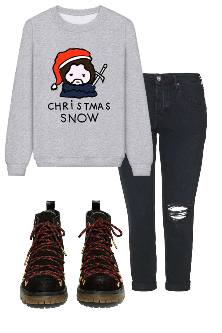 RAD. Sweater $19, TOPSHOP Jeans $55, CIRCUS BY SAM EDELMAN Boots $90