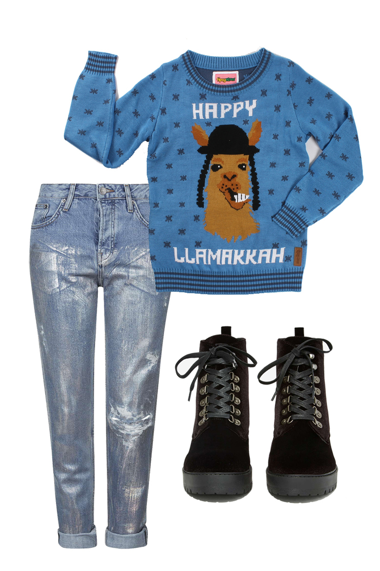 TIPSY ELVES Sweater $69, T.U.K. Boots $85