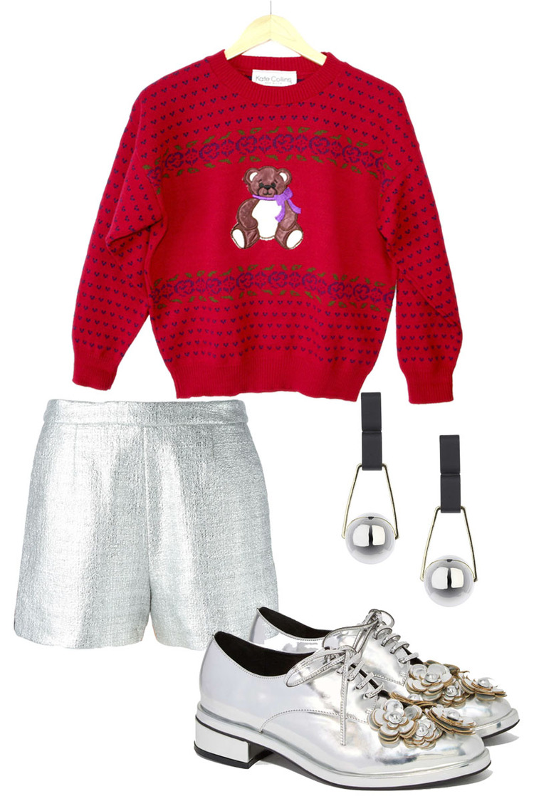 VINTAGE Sweater $22, MARKUS LUPFER Shorts $289, JEFFREY CAMBELL Shoes $94, TOPSHOP Earrings $14