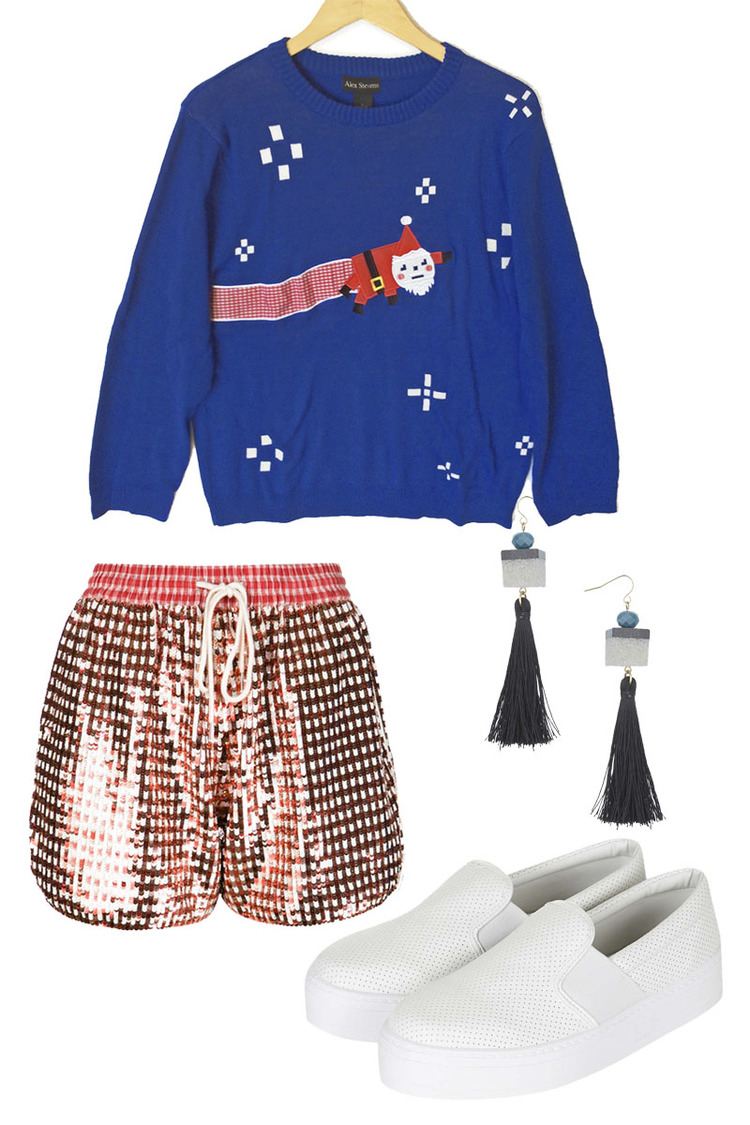 VINTAGE Sweater $45, ASHISH Shorts $1125, TOPSHOP Earrings $25, TOPSHOP Shoes $35
