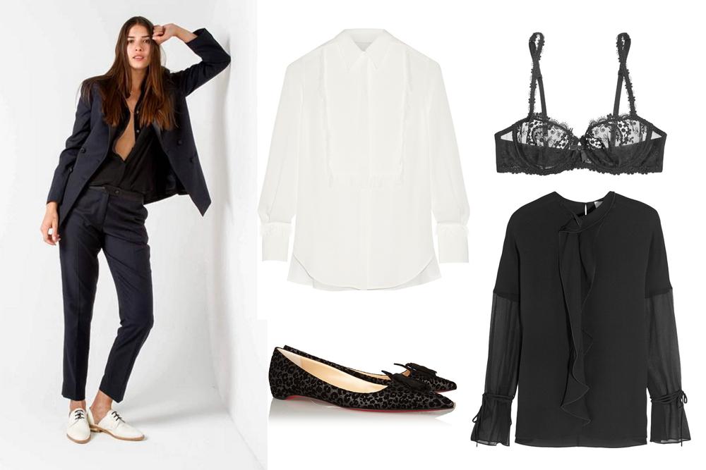 EMILY MEYER Tuxedo , 3.1 PHILLIP LIM White Shirt $495 , SIMONE PÉRÈLE Bra $105 , 3.1 PHILLIP LIM Ruffled Crepe Blouse $495 ,   CHRISTIAN LOUBOUTIN Flats $695