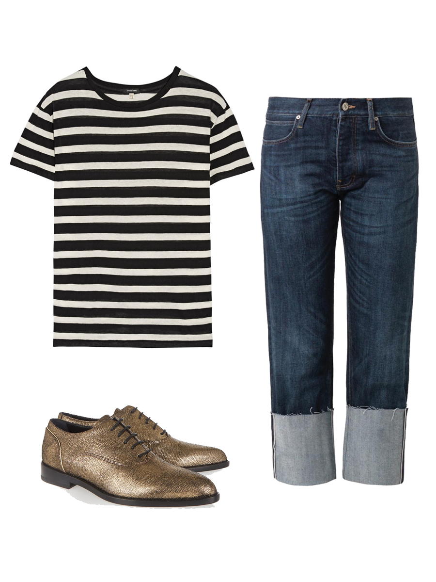R13 Boy Striped T-shirt $195 , M.I.H. JEANS Phoebe Boyfriend Jeans $280 , LANVIN Metallic Suede Brogues $445
