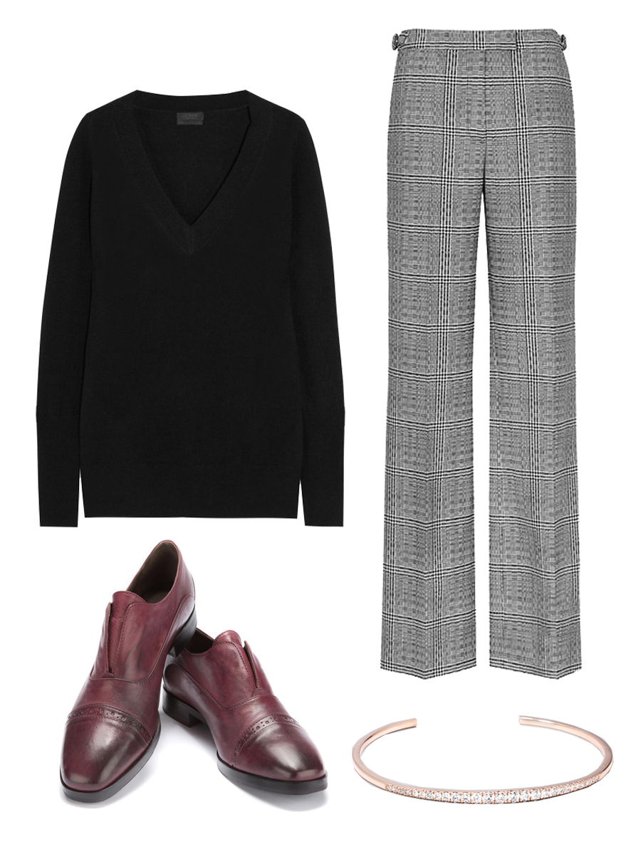 J.CREW   Cashmere Sweater $133 ,  REISS Trousers $145 ,  M.GEMI. The Chiaro Shoes $278 ,    N  OEMIE The Graduate Cuff $1840