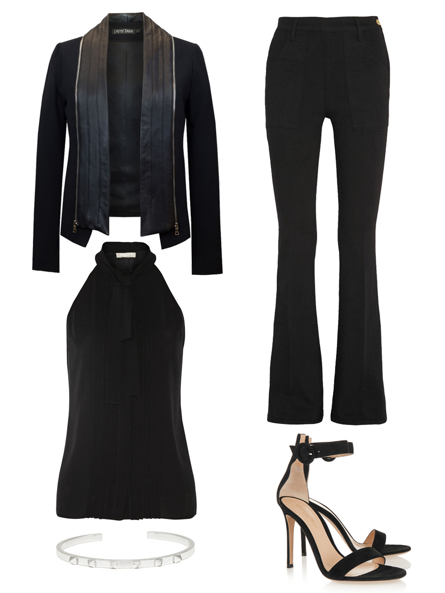 J'AMY TARR Signature Tux $628 ,  MICHAEL KORS Top $347 ,  FRAME DENIM Jeans $230 ,     SVELTE METALS      Crawford Cuff $150 ,    GIANVITO ROSSI   Suede Sandals $790
