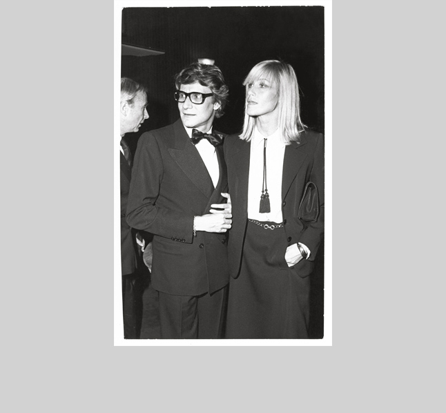"YSL's tall lanky blond muse, Betty Catroux, wore almost exclusively masculine clothes, to louche and glamorous effect. Her influence on fashion cannot be underestimated. After all, ""le smoking"" (a woman in a tuxedo for evening) was the creation of Saint Laurent himself."
