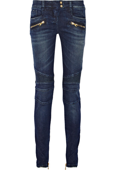 BALMAIN Moto-style distressed low-rise skinny jeans $1410