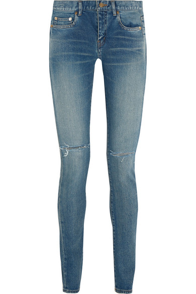SAINT LAURENT Distressed mid-rise skinny jeans $750
