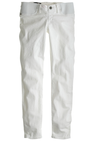 J.CREW Maternity pull on toothpick jean in chalk $105