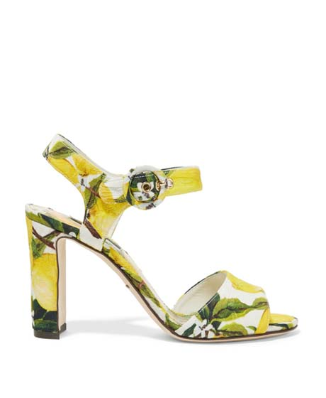 DOLCE & GABBANA Printed Faille Sandals $507