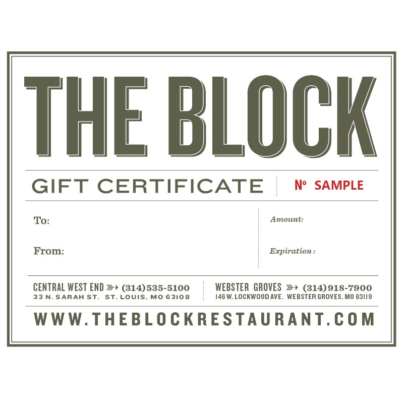 Gift Certificates The Block