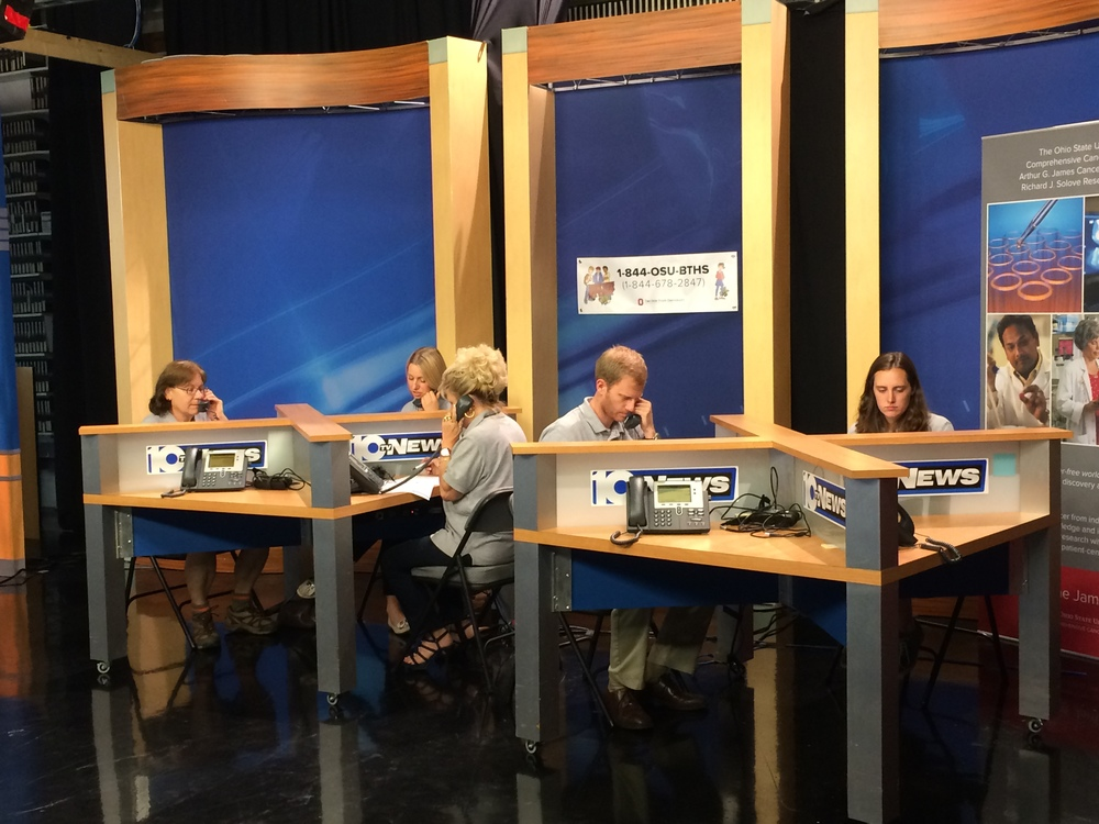 Some of Brittney's field staff answering calls at a CBS 10TV phone bank