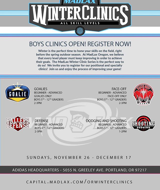 Don't miss your chance to register for the MadLax winter clinic series! Starts 11/26! Link in bio. . . . . . . #gomadlax  #playwithpassion #lax #lacrosse #orlax #portland #pdx #oregonlacrosse #oregon #collegelax #collegelacrosse #ncaa #ncaalax #ncaalacrosse #ualax #underarmour #adidas #adidaslacrosse #adidaslax