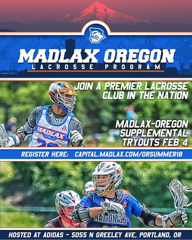 Did you miss out the first time? Now's your chance to join the best. Register for supplemental tryouts. Slated for Sunday. Link in bio. #gomadlax #playwithpassion #lax #lacrosse #portland #pdx #oregon #orlax
