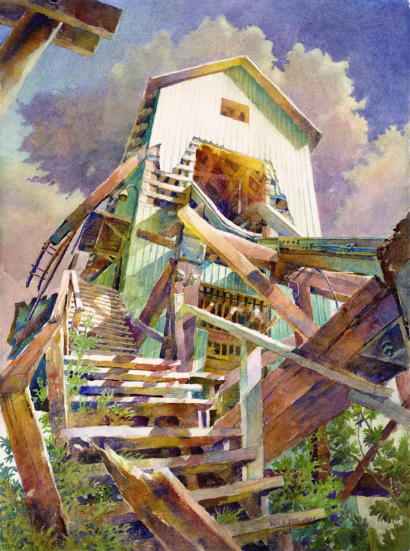 No.3 shaft house stairs - watercolor