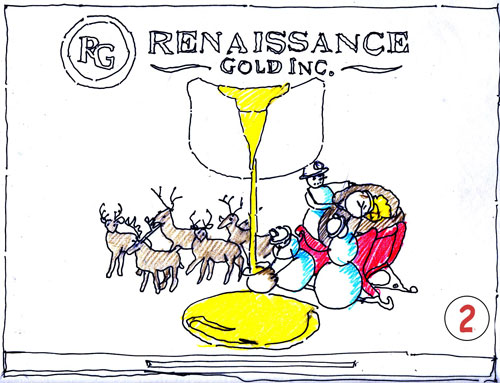renaissance gold greeting card sketch