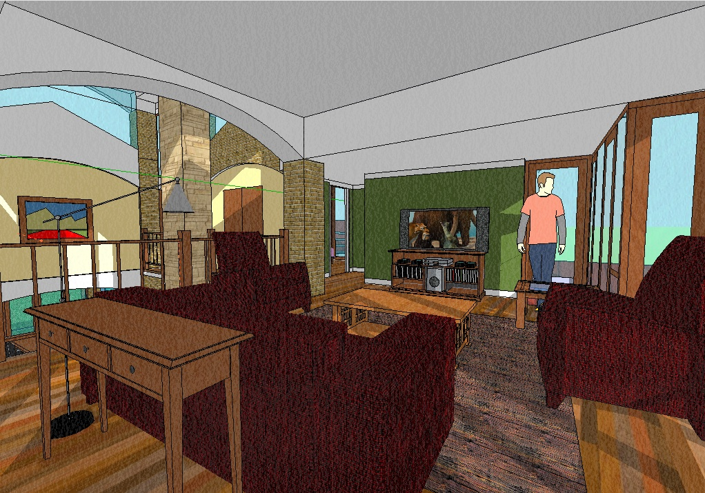 Sketchup house, family room